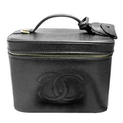 Vintage Signed Chanel Italy Black Leather Vanity Purse