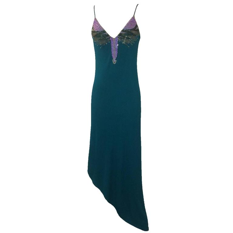 Stephen Burrows 70s Teal Beaded Assymetrical Jersey Dress  For Sale
