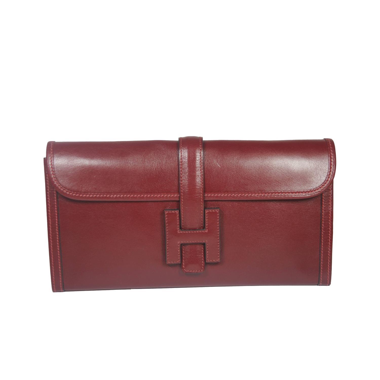 HERMES Jige \u0026quot;H\u0026quot; Logo Burgundy Leather Envelope Clutch w/ Sleeper ...