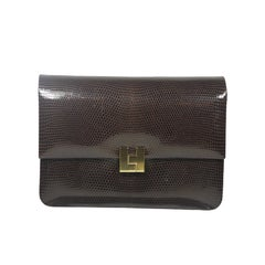 LAMBERTSON TRUEX Brown Lizard Clutch with Gold Hardware and Optional Strap