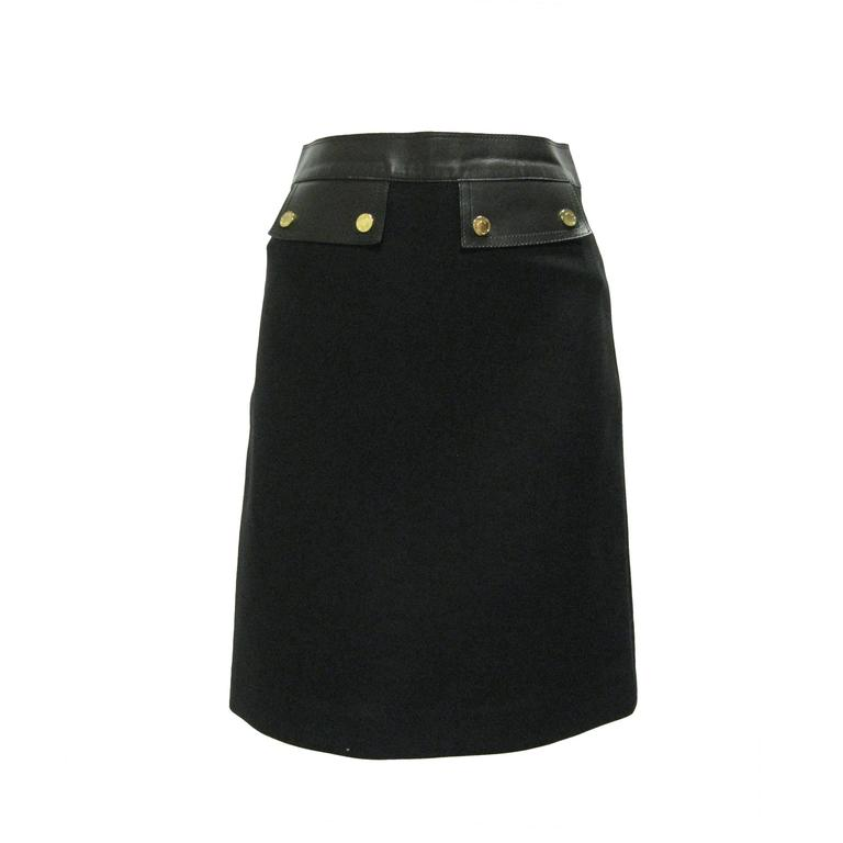 Gucci Black Wool and Leather Pencil Skirt