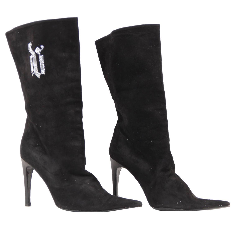 Black Leather Kitten Heel Boots