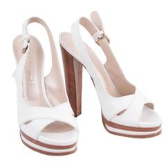 CASADEI White Leather PLATFORM Strappy SANDALS Heels SHOES SZ 10
