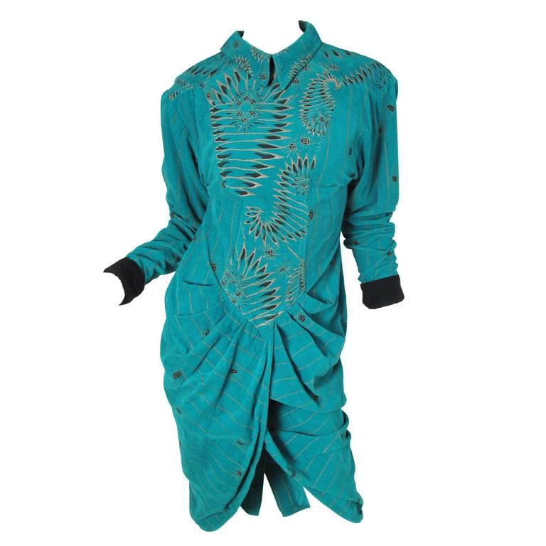 Zandra Rhodes Cordoroy Jewel Printed Dress - sale For Sale