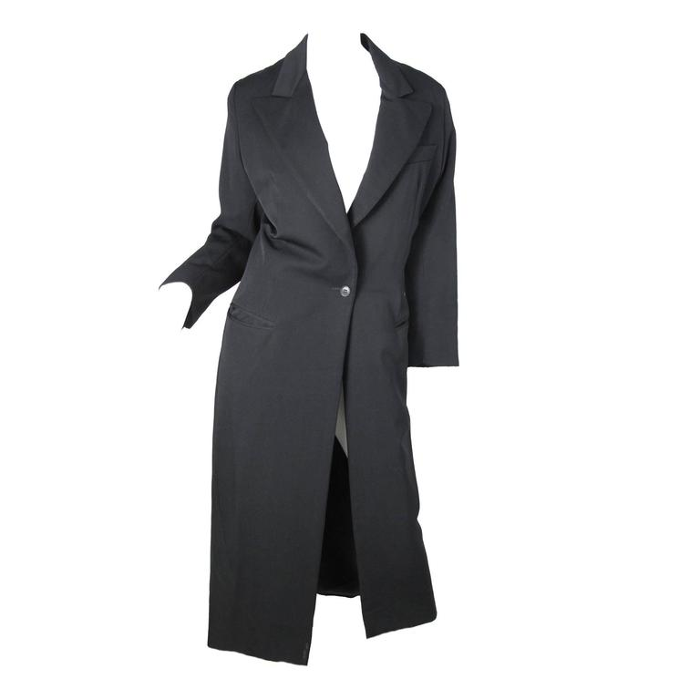Early 80s OMO Norma Kamali Long Black Coat