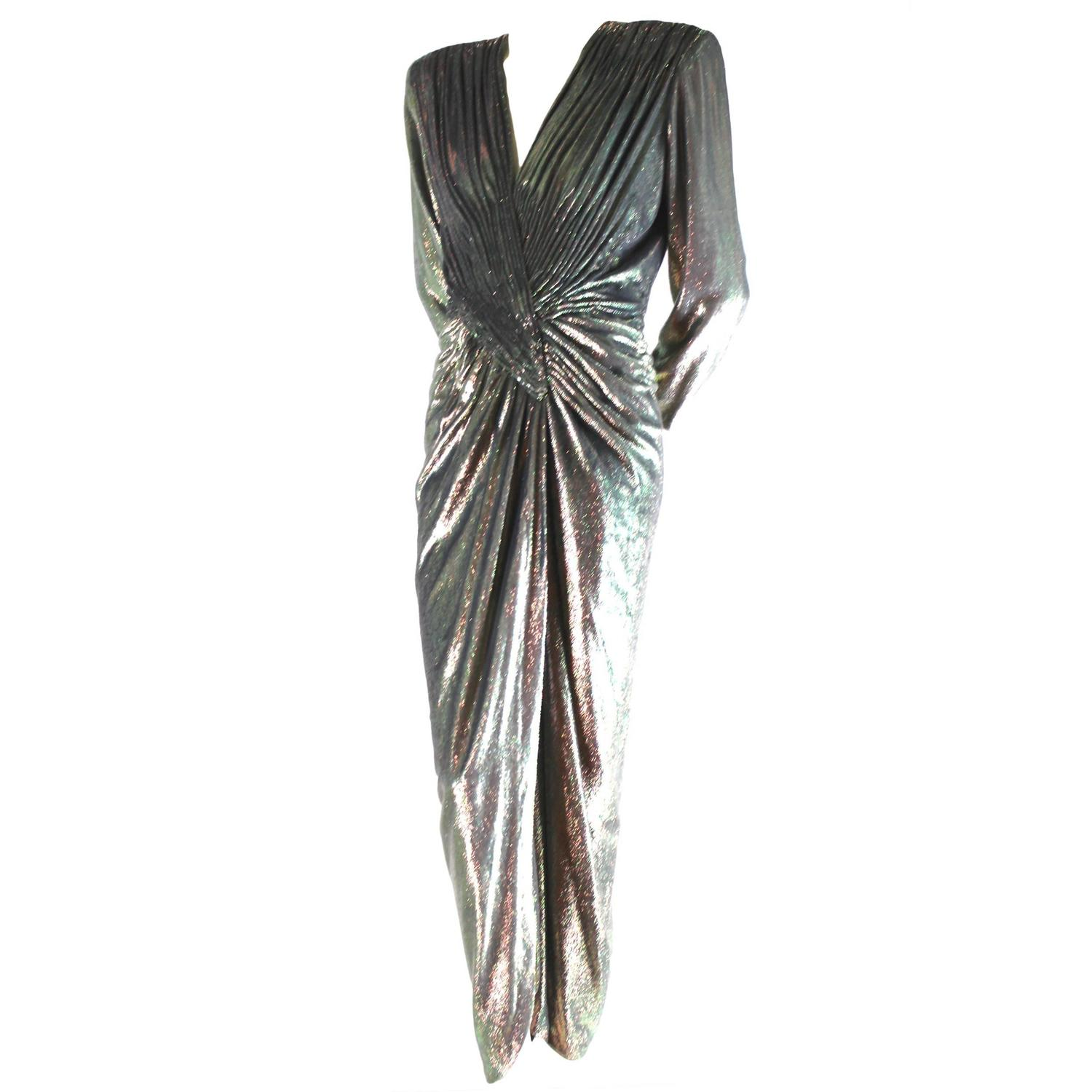 Vicky Tiel Silk and Rayon Pile Velvet Lurex Evening Dress For Sale ...