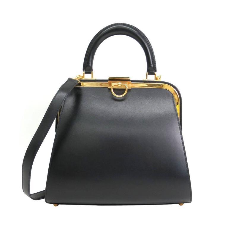 Christian Dior Ladylike Black Leather Gold Hardware Satchel ...