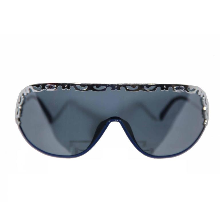CHRISTIAN DIOR Vintage Shield SUNGLASSES 2501 Blue & Silver Metal eyewear w/CASE 1
