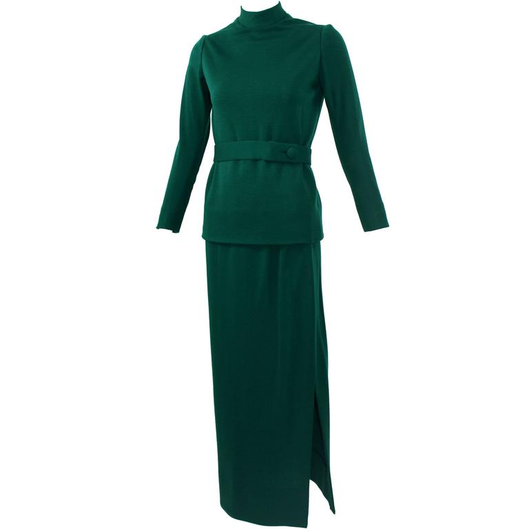 1960s Emerald Green Norman Norell attributed 2pc. Skirt Set
