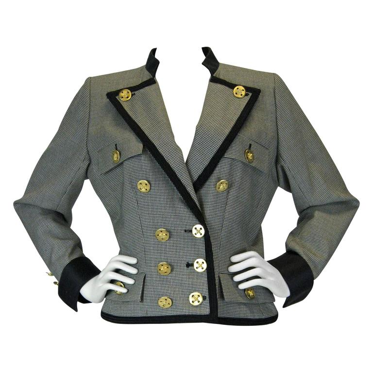 Yves Saint Laurent Rive Gauch Herringbone Double Breasted Jacket
