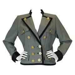 Yves Saint Laurent Rive Gauch Herringbone Double Breasted Jacket