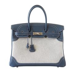 HERMES BIRKIN 35 bag Ghillies blue swift Toile Palladium
