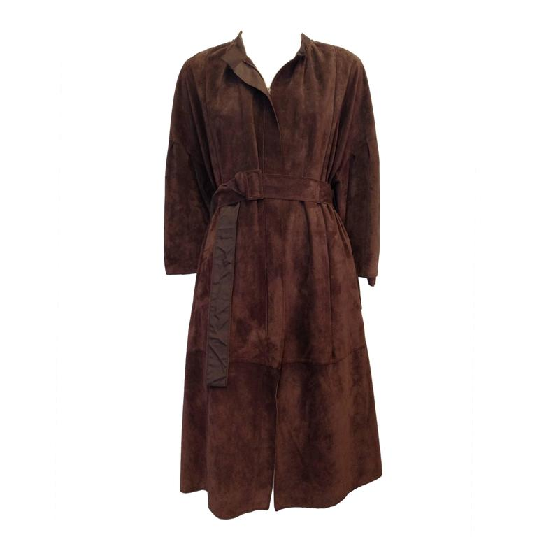 Lanvin Brown Suede Belted Coat Size 38 (6)