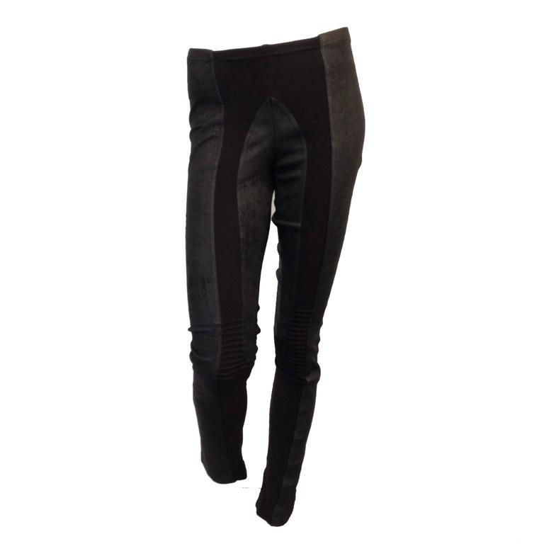 Rick Owens Black Leather Leggings Size 6