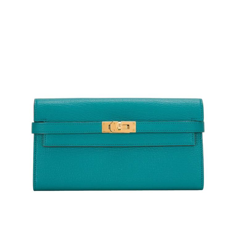 Hermes Blue Paon Chevre Kelly Long Wallet NEW