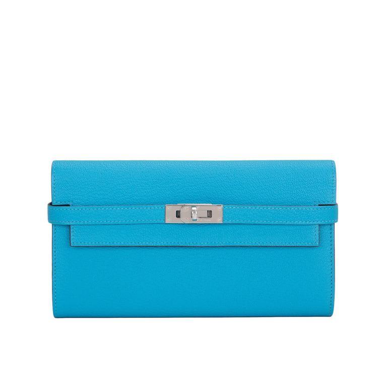 Hermes Blue Aztec Chevre Leather Kelly Long Wallet NEW