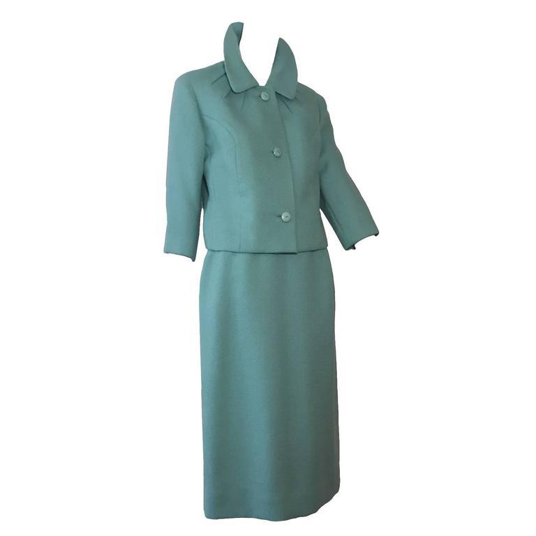 1950s Jean Lanvin - Castillo Turquoise Wool Skirt Suit  For Sale