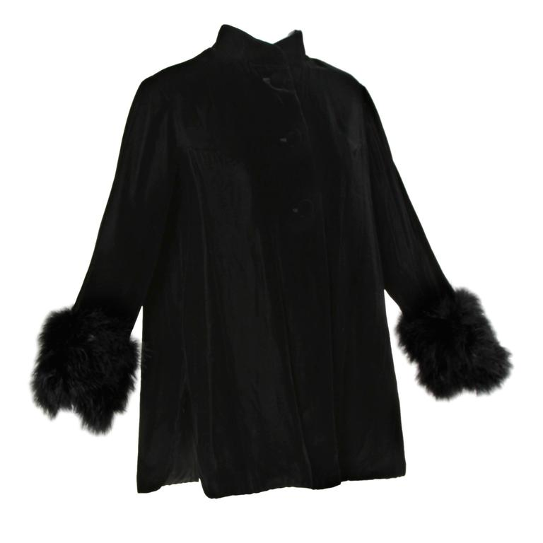 1960s Vintage Black Velvet Swing Jacket or Coat with Marabou Feather Cuffs 1