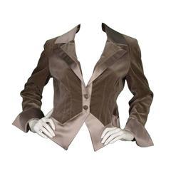 Valentino Grey Velvet Blazer sz 10