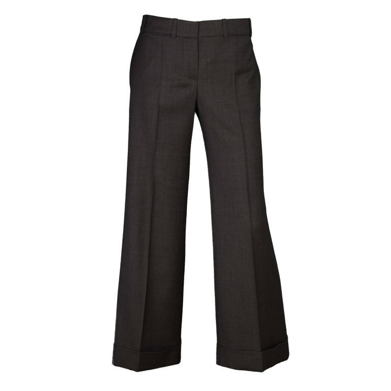 Chloe Grey Wool Wide Leg Pants sz 40 For Sale
