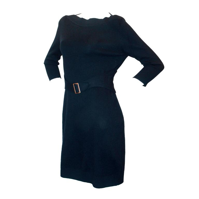 chanel navy 3 4 sleeve dress w wide cut neck and