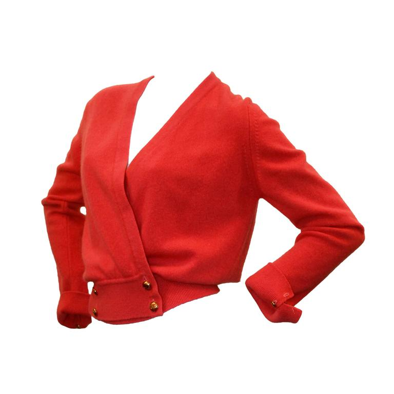 Chanel Vintage Coral Cashmere Cardigan with Cinched Bottom- circa 1980's - M 1