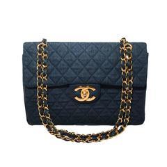 Chanel Quilted Denim Maxi Flap Shoulder Bag