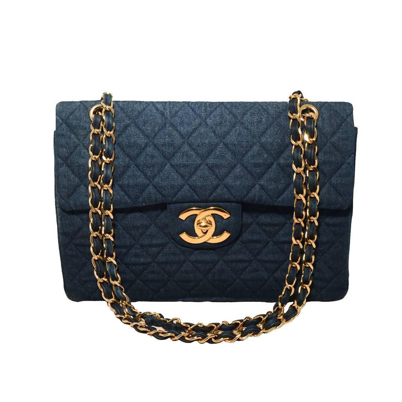 Chanel Quilted Denim Maxi Flap Shoulder Bag At 1stdibs