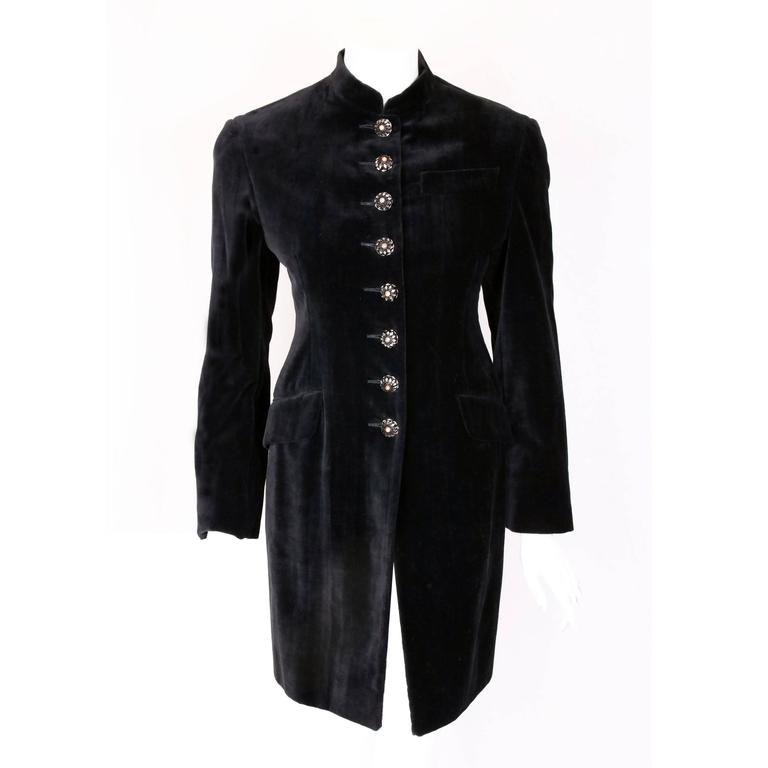 Romeo Gigli Black Velvet Coat w/Nehru Collar &Oversized Mirrored Buttons ca.1989