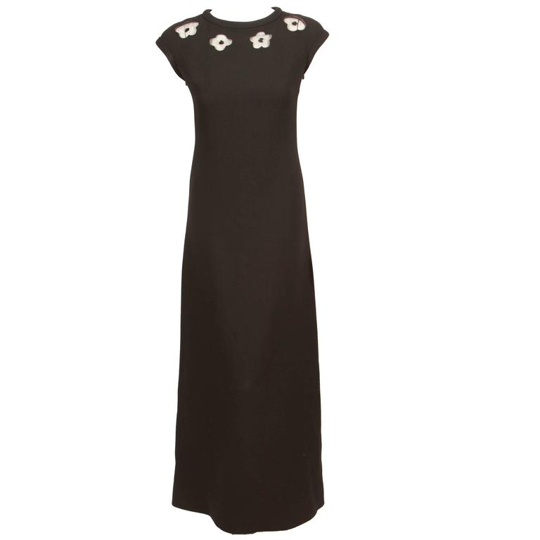 1970\'s Courreges Black A-Line Evening Gown w/Cap Sleeves and Floral ...