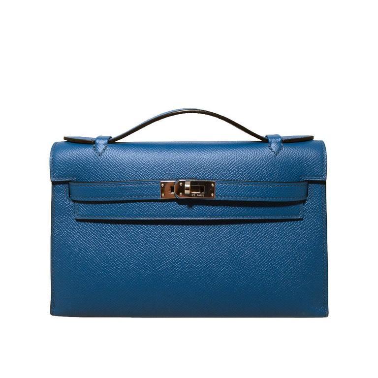 43ea59b9fe40 ... shopping stunning hermes blue izmir epsom leather kelly pochette for  sale b4d49 b7697