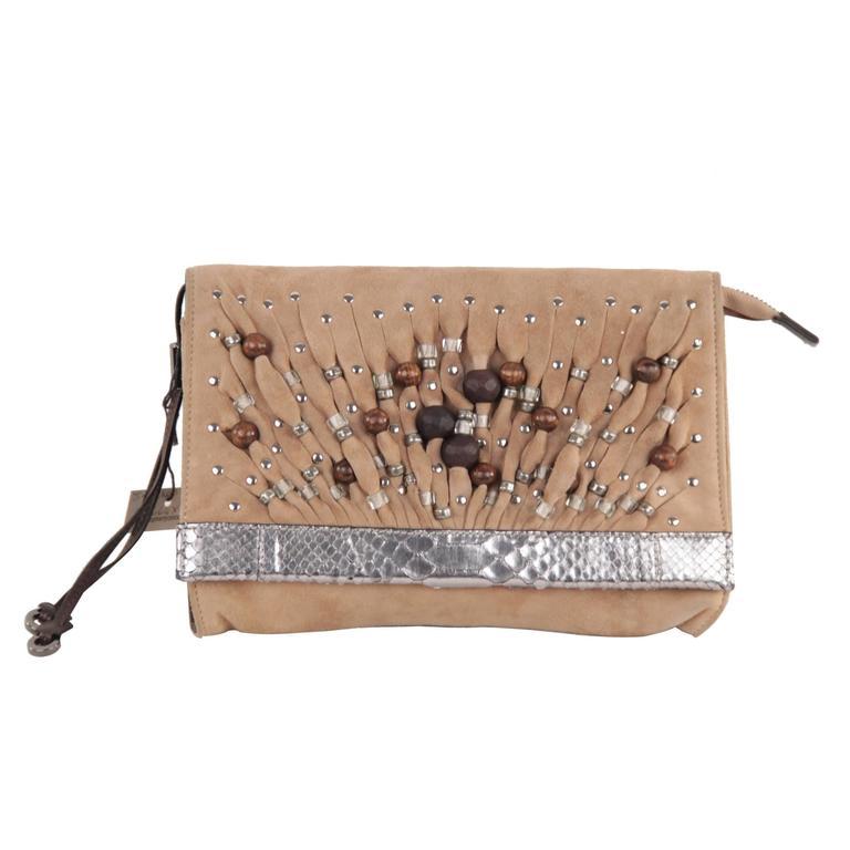 04653da49c JIMMY CHOO Tan Suede VENUS Bag CLUTCH Handbag PURSE w/ WOOD BEADS For Sale