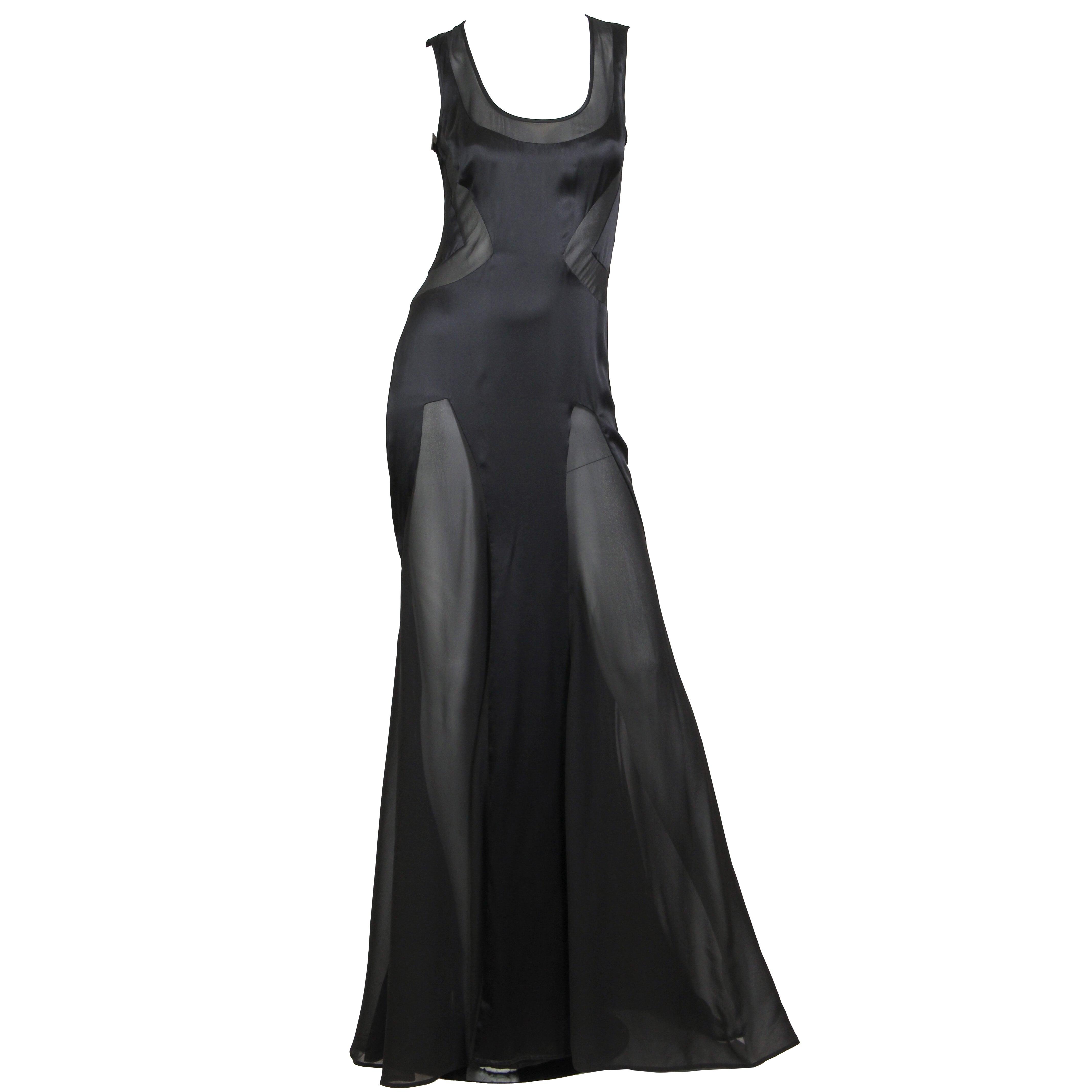 2000S VERSACE Black Silk Charmeuse Gown With Sheer Chiffon Peek-A-Boo Panels