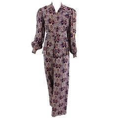 1940s printed rayon lounge/at home pajama top & trouser set