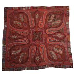 Antique Indian Embroidered Paisley Shawl blanket