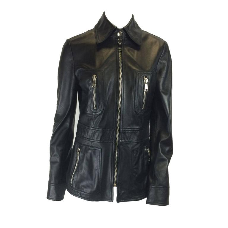 Dolce & Gabbana BLack Leather Jacket 1