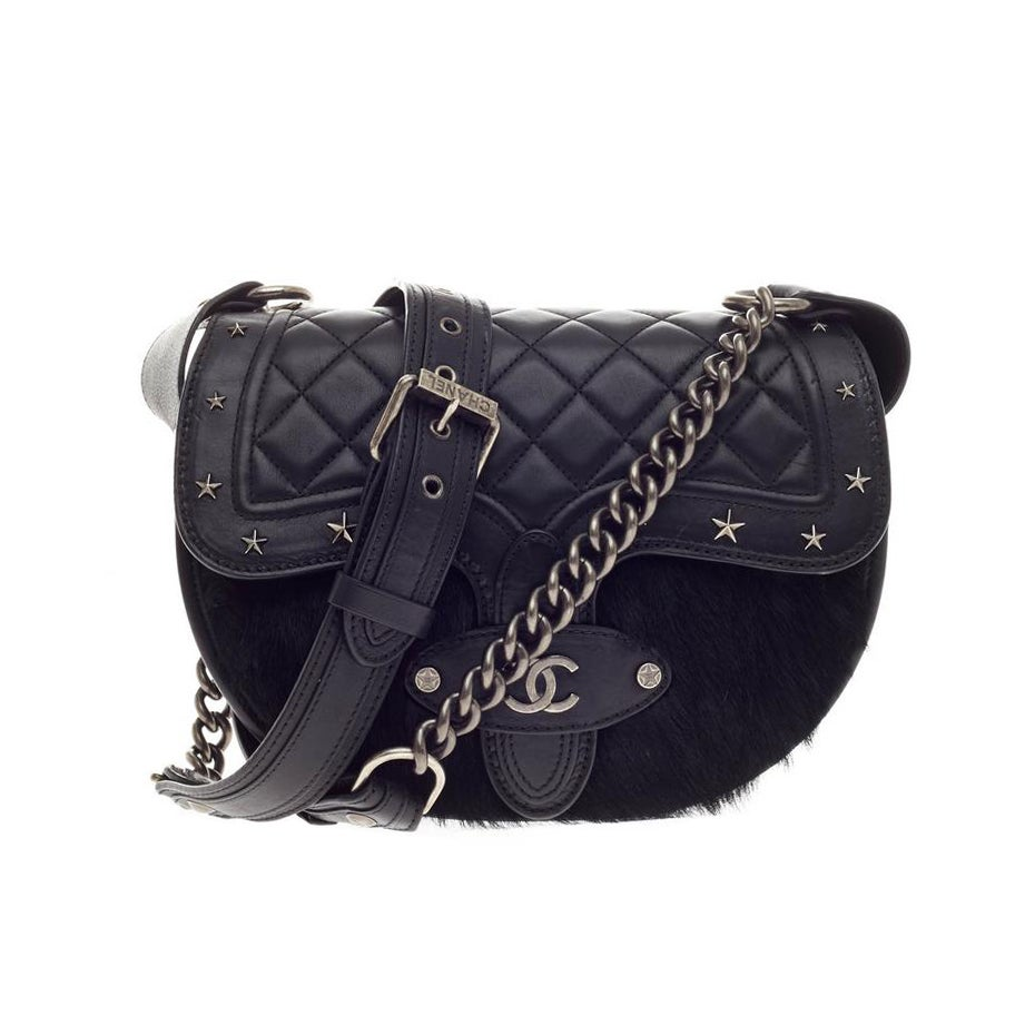 f4530c43f258 Chanel Dallas Studded Saddle Bag Quilted Calfskin and Pony Hair at 1stdibs