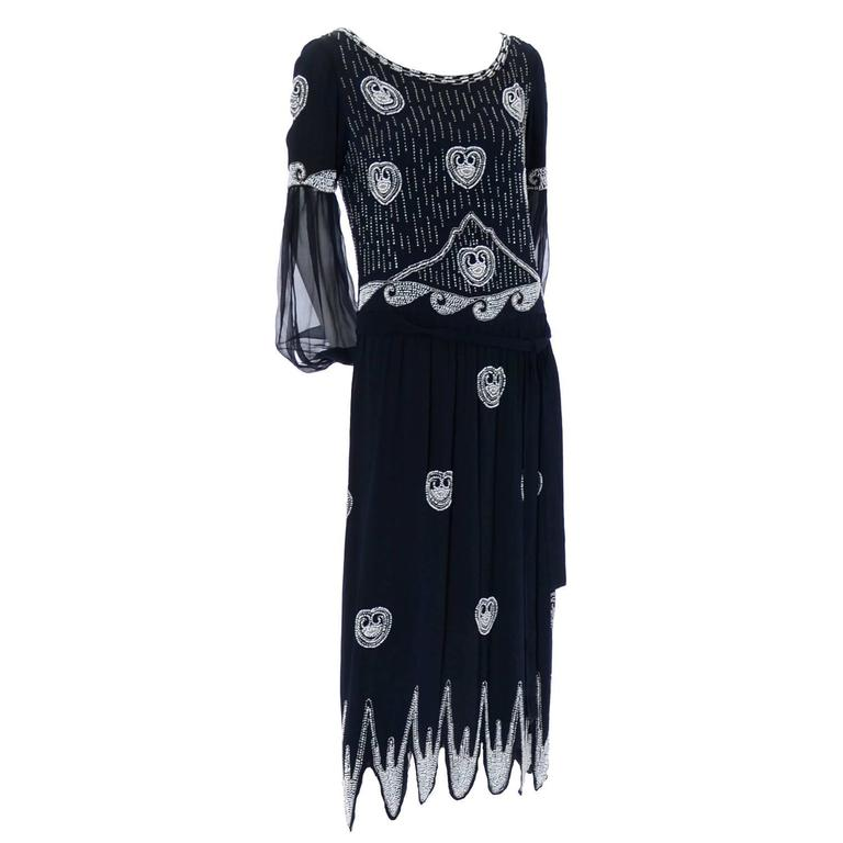 Art Deco 1920s Beaded Black Vintage Dress W Handkerchief Hem Sheer Sleeves For