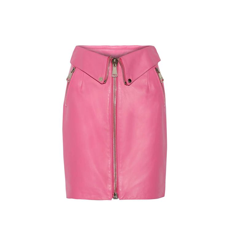 moschino bumble gum pink leather skirt at 1stdibs