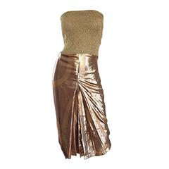 Amazing Vintage Gianfranco Ferre Gold Silk + Lame Strapless Pleated Sexy Dress