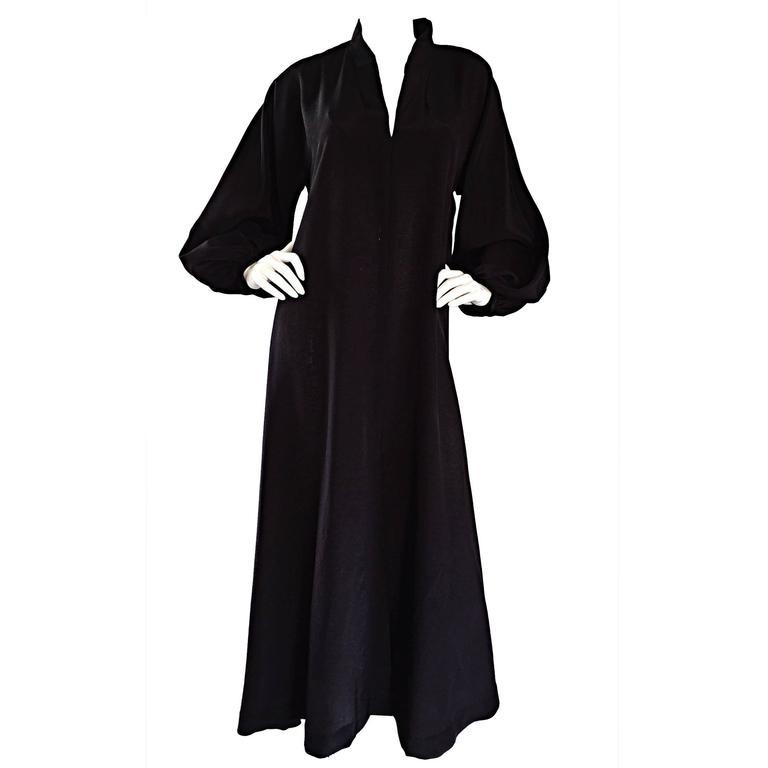 Rare Vintage Halston Black Caftan Silk Dress w/ Empire Waist and ...