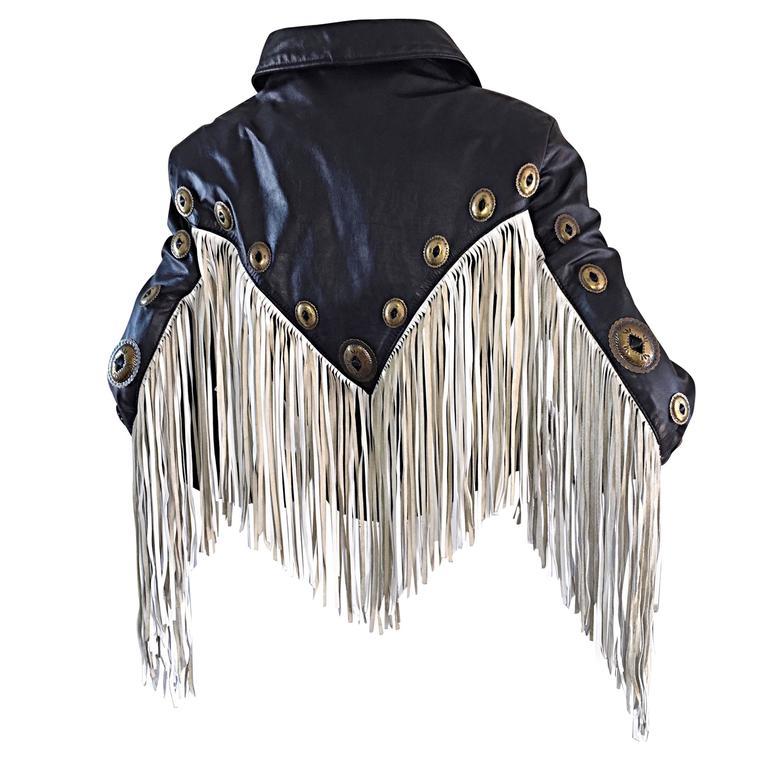 Amazing Vintage Black and White Leather Fringe Biker Western Jacket For Sale