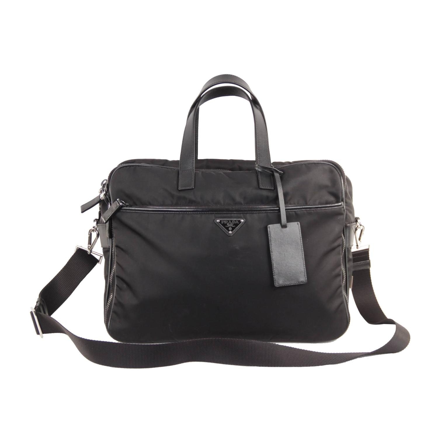 PRADA Italian Black VELA TESSUTO Nylon LAPTOP CASE Work Bag ...