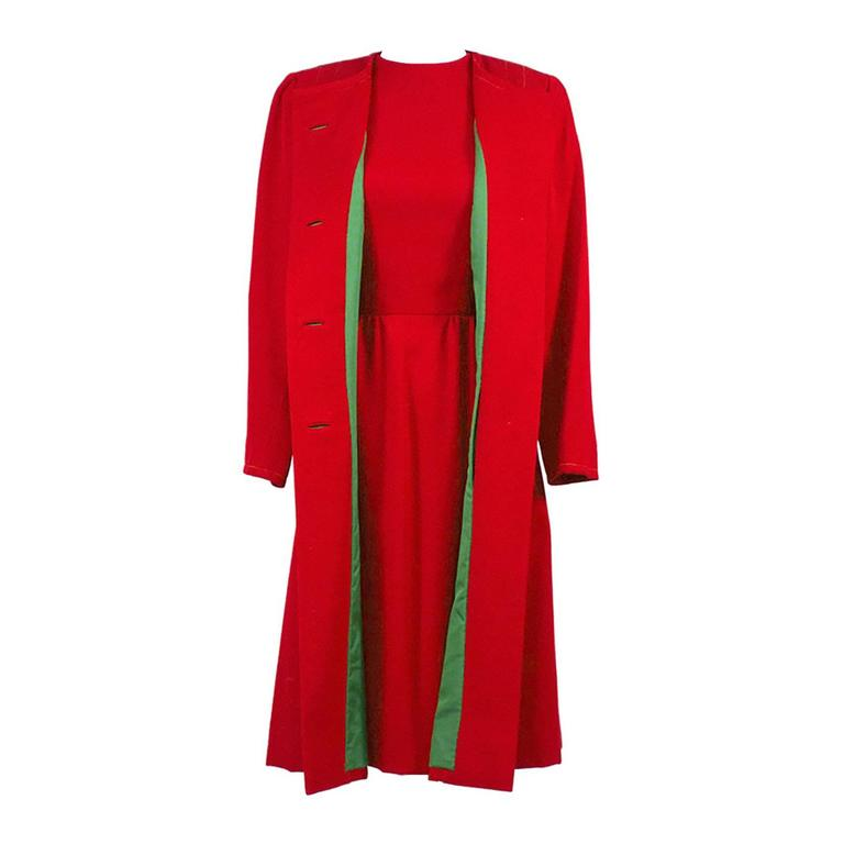 1950s vintage sheath dress and coat suit red green christmas holiday
