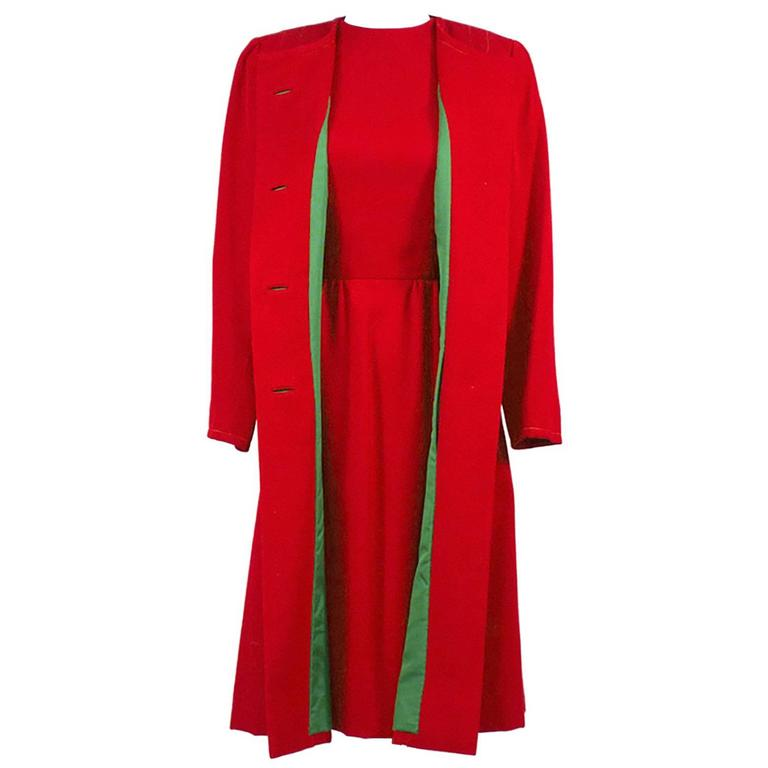 1950s Vintage Sheath Dress And Coat Suit Red Green Christmas Holiday Ensemble For Sale