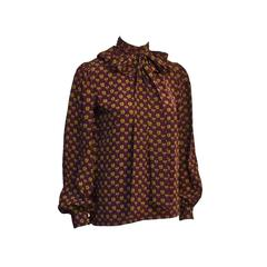 1970's YSL Floral Silk Blouse with Neck Tie