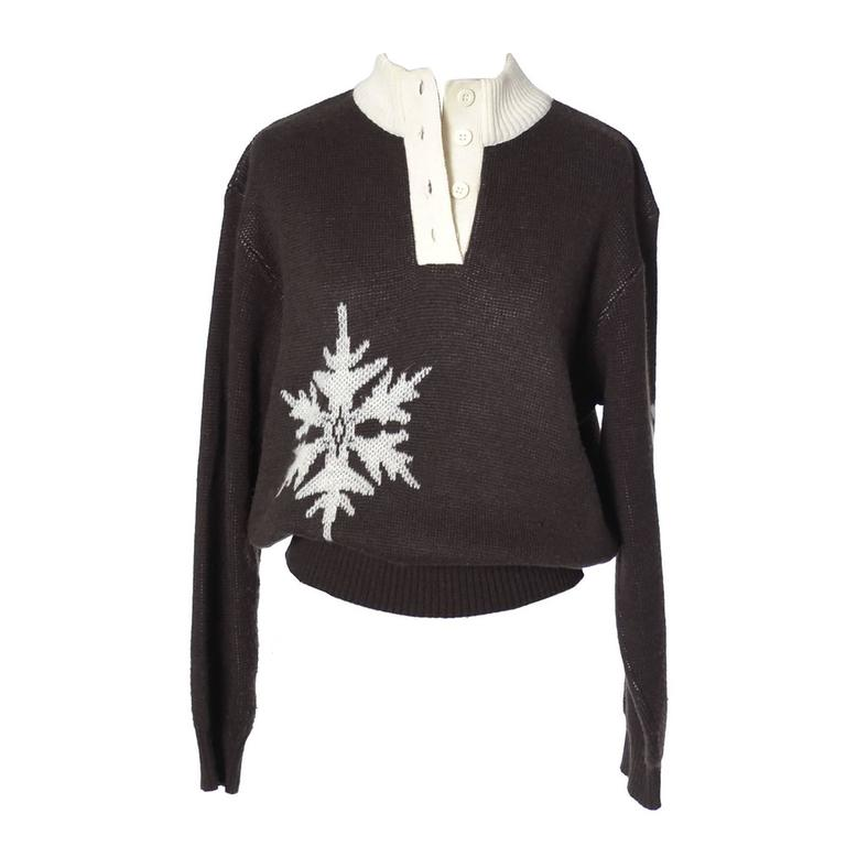 Vintage Courreges Snowflake Sweater Wool Cashmere Blend Medium 1
