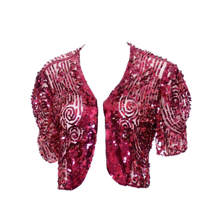 Fine Estate 1930s Vintage Bolero Jacket Top Red Sequins Beautiful Detail  1