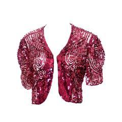 Fine Estate 1930s Vintage Bolero Jacket Top Red Sequins Beautiful Detail