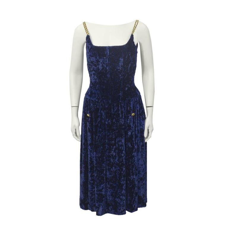 1990's Chanel Navy Panne Velvet Cocktail Dress For Sale
